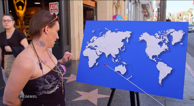 A geographically challenged Republican attempts to name one country on a world map. - YOUTUBE / JIMMY KIMMEL LIVE