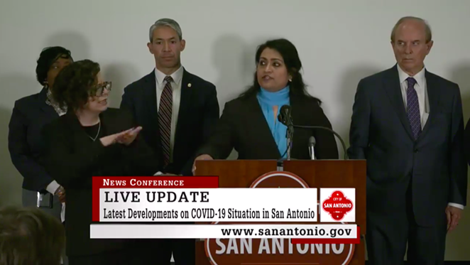 Anita K. Kurian, assistant director of San Antonio Metro Health, speaks to reporters at Monday's news conference. - CITY OF SAN ANTONIO SCREEN CAPTURE
