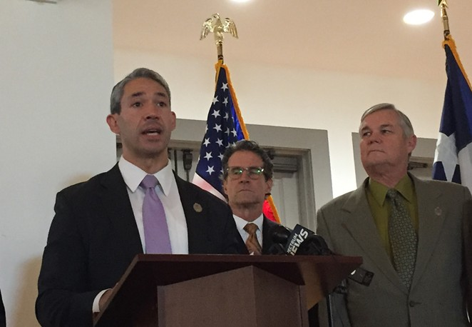 Ron Nirenberg addresses the press at a 2019 city event. - SANFORD NOWLIN