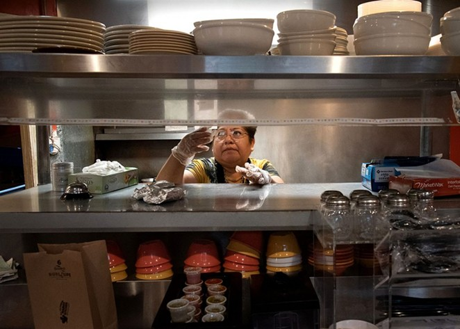 Blanca Estrada takes orders at Mama's Kitchen on Thursday. - PHOTO BY V. FINSTER | HERON CONTRIBUTOR