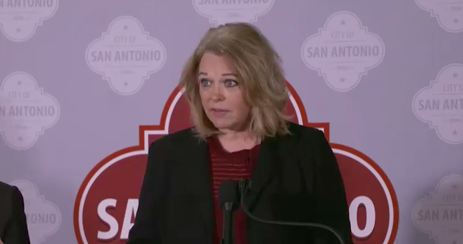 Metro Health Director Dawn Emerick addresses reporters at a recent news conference. - CITY OF SAN ANTONIO