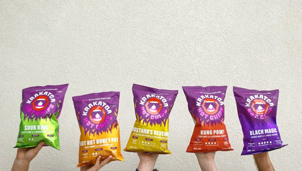 Krakatoa Hot Chips, a new line of super-spicy kettle-cooked potato chips, use real peppers to up the spice ante. - JANE KIM