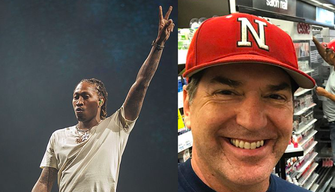 Rapper Future during a concert appearance and anchor Steve Spriester in hip-hop regalia (sort of) - WIKIMEDIA COMMONS AND INSTAGRAM / STEVE_SPRIESTER