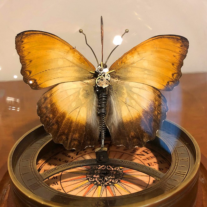 The 2020 Kate Wilhelm Solstice Award, created by Mike Libby of Insect Lab Studio, is comprised of a real butterfly merged withgears, springs and wire. - COURTESY PHOTO / JOHN PICACIO