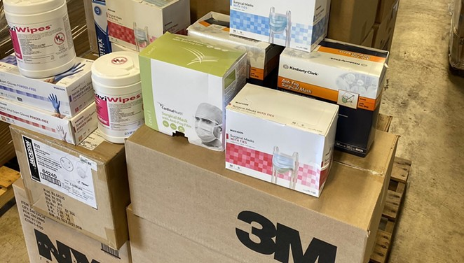 A shipment of authentic N95 masks and other PPE await distribution by Texas officials. - TWITTER / @TDEM