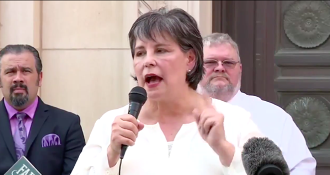 Cynthia Brehm, who was voted out Tuesday as Bexar County Republican Party chairwoman, speaks at a press conference where she said the COVID-19 was a Democratic hoax. - TWITTER VIDEO CAPTURE / @BUBBAPROG