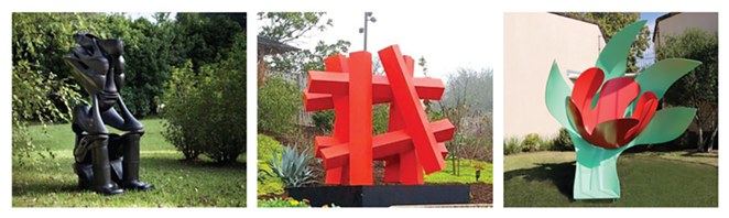The three new outdoor sculptures added to the McNay collection are (left to right): The Sole Sitter by Willie Cole, Hashtag-Orange by Alejandro Martín and Standing Tulip by Tom Wesselmann. - COURTESY OF MCNAY ART MUSEUM