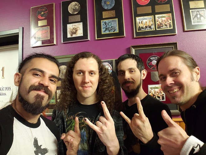The San Antonio metal band poses with  renowned Finnish producer Anssi Kippo (right) while recording its latest album. - COURTESY OF ӔTERNAL REQUIEM