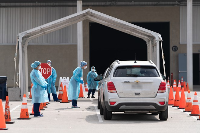 Cars pull up to the city's mobile coronavirus testing site at Freeman Coliseum. - COURTESY PHOTO / CITY OF SAN ANTONIO
