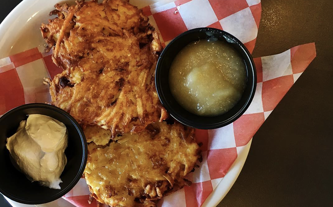 Max & Louie's Potato Latkes with applesauce and sour cream are available as part of their National Deli Month menu. - INSTAGRAM / EAT_IT_B