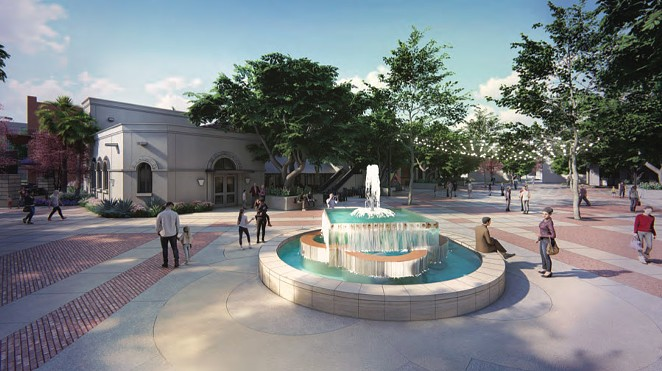 The latest Maverick Plaza rendering shows a new fountain closer to South Alamo Street. - COURTESY PHOTO / FISHER HECK ARCHITECTS