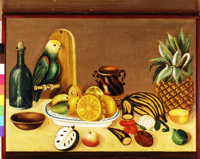 Still Life with Parrot, Mexico, 19th century, Oil on canvas, 21 1/2 x 29 1/2 in. (54.6 x 74.9 cm),The Nelson A. Rockefeller Mexican Folk Art Collection, 85.98.97 - COURTESY OF SAN ANTONIO MUSEUM OF ART
