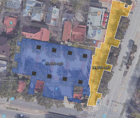 Map above shows current Maverick Plaza footprint. Map below shows reduced public space inside the plaza after redevelopment. - GOOGLE MAPS