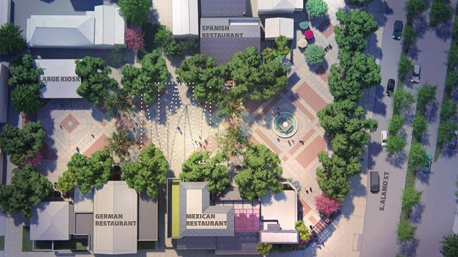 This drawing shows what Maverick Plaza would look like with three new restaurants, the '70s walls removed and footprint expanded to the edge of South Alamo Street. Spanish restaurant by Elizabeth Johnson in the circa-1855 Faville House, which will be expanded back into the plaza. Mexican restaurant by Johnny Hernandez in newly-constructed two-story hacienda-style building. German restaurant and microbrewery by Steve McHugh. Mostly new build; but also uses the Gissi house. Large kiosk for cooking demonstrations. Fountain relocated from center of the plaza toward South Alamo Street. South Alamo Street reconstruction to include newly-paved promenade that blends into plaza - COURTESY PHOTO / FISHER HECK ARCHITECTS   MP STUDIO