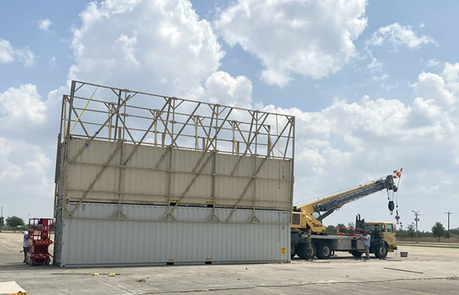 The screens at the New Mission Outdoor Theater are mounted on shipping containers. - COURTESY PHOTO / FRED REYES