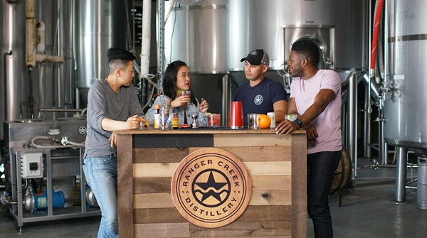 First-time homebuyers Kino (far left) and Mi taste local spirits at Ranger Creek Brewstillery on episode one of 'Beyond the Block.' - COURTESY 'BEYOND THE BLOCK'