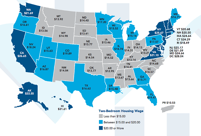 This map shows how much you need to make an hour to afford a two-bedroom apartment in each state. - NATIONAL LOW INCOME HOUSING COALITION
