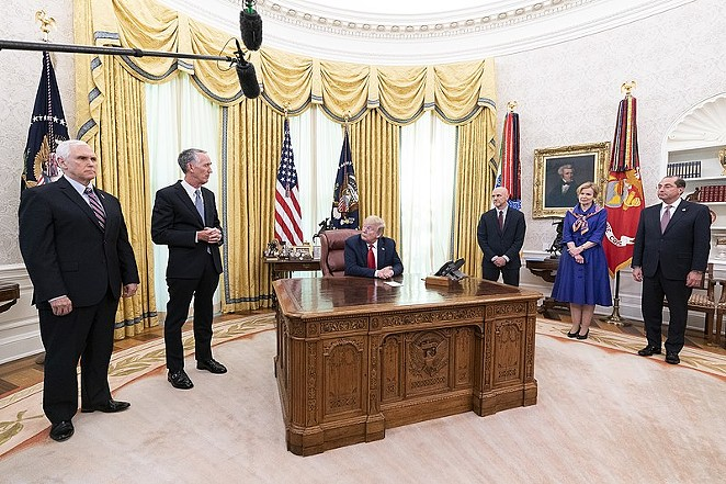 President Donald Trump meets with Gilead CEO Daniel O'Day in the Oval Office in May. - WIKIMEDIA COMMONS / THE WHITE HOUSE