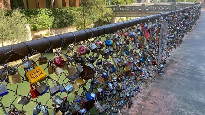 """The """"Love Lock Bridge"""" is located between Market Street and the Kallison Walk bridge. - BEN OLIVO / SAN ANTONIO HERON"""
