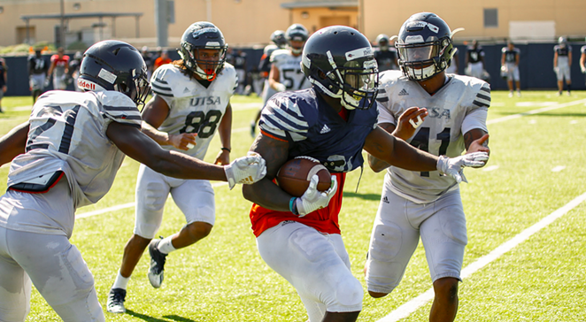 University of Texas at San Antonio players engage in a pre-season practice session. - TWITTER / @UTSAFTBL