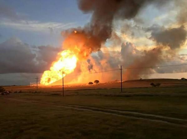 A fire from a natural gas pipeline explosion burns near Cuero. - CRYSTAL RIEMENSCHNEIDER IRVIN/FACEBOOK