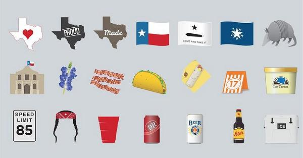 A sample of some of the Texas-themed emoji included in TexMoji's library. Not included in the initial release? The Alamo. - COURTESY