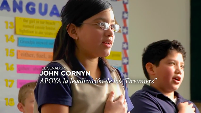 A screen capture from John Cornyn's new Spanish-language TV spot. - YOUTUBE / TEXANSFORJOHNCORNYN