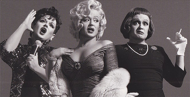 Jimmy James channeling Judy Garland, Marilyn Monroe and Bette Davis on a billboard in Times Square. - COURTESY