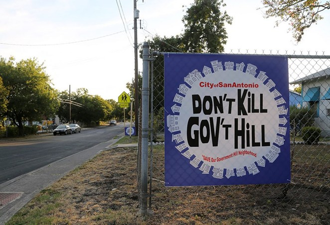 This protest sign is seen on Edgar Avenue in Government Hill. - PHOTO BY BEN OLIVO / SAN ANTONIO HERON