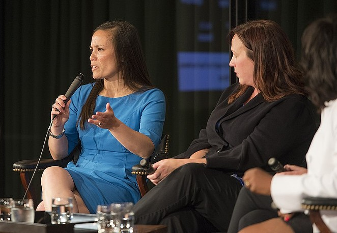 Gina Ortiz Jones (left) and MJ Hegar speak at an event in Austin. Both are running for federal office during the 2020 cycle. - WIKIMEDIA COMMONS / LBJ LIBRARY PHOTO BY JAY GODWIN