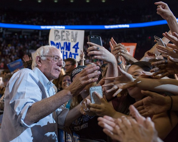 The crowds turning out to hear Bernie Sanders progressive message continue to grow. An estimated crowd of 28,000 filled the Moda Center in Portland, Oregon,  to hear the Democratic presidential candidate speak at a campaign rally on Sunday, August 9, 2015. - COURTESY