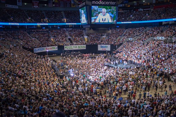 A campaign rally in Portland on Sunday drew the largest crowd yet. - COURTESY