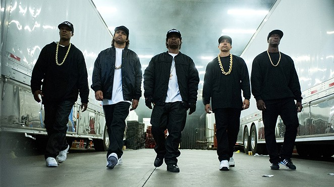 (From left) MC Ren, Ice Cube, Eazy-E, DJ Yella and Dr. Dre – the actors playing N.W.A in Straight Outta Compton, at least. - COURTESY