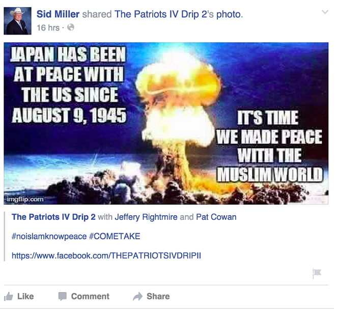 Sid Miller's Facebook post, now deleted. - VIA THE DALLAS MORNING NEWS