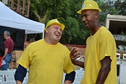 Former San Antonio Spur Bruce Bowen and Cleto Rodriguez from Where's Cleto were the dinosaur's beak. - WITTE MUSEUM