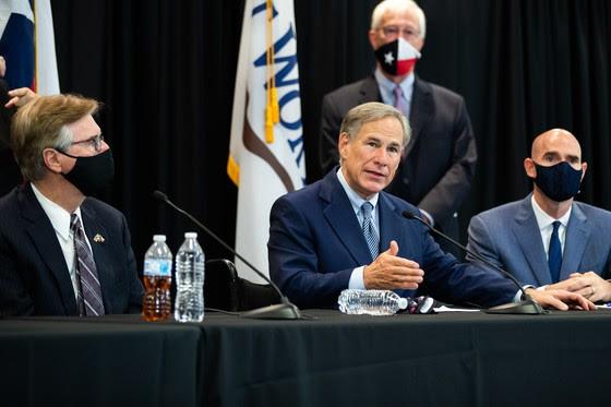 Gov. Greg Abbott (center), Lt. Gov. Dan Patrick and House Speaker Dennis Bonnen (right) appear at a news conference. - COURTESY PHOTO / TEXAS GOVERNOR'S OFFICE