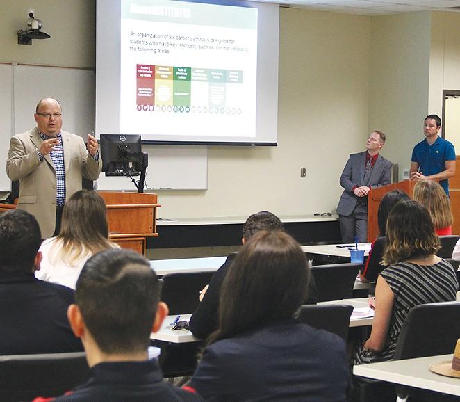 SAC President Robert Vela outlines the Alamo Institutes model. - CYNTHIA M. HERRERA/THE RANGER