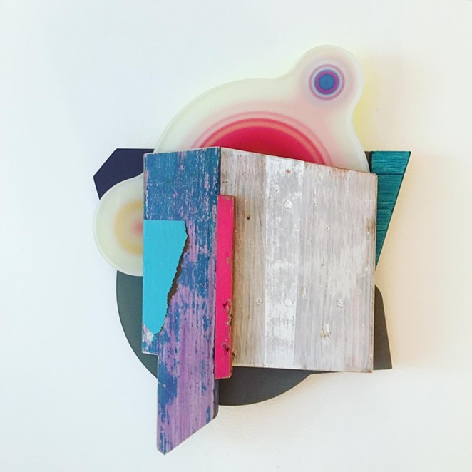 Andres Ferrandis, Islas, 2020, Wood, polycarbonate, found object, silkscreen, cardboard, oil and acrylic painting, 22 x 16 x 3.5 in. - ANDRÉS FERRANDIS