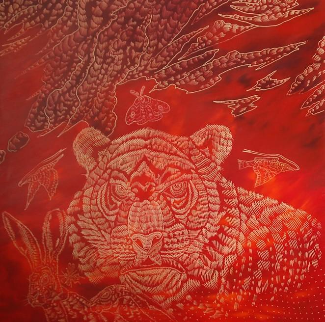 Richard Armendariz, Set the Woods on Fire (Remix), 2020, Carved oil on birch panel, 48 x 48 in. - RICHARD ARMENDARIZ