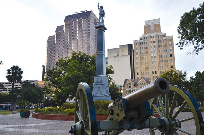 The statue of Colonel William Barret Travis in the downtown SA park named after him and a rendering (inset) of a proposed addition. - MICHAEL MARKS