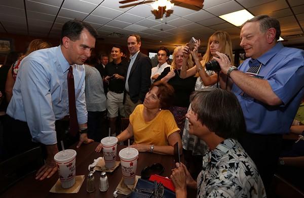 Scott Walker meets with voters at the Bill Miller BBQ on Broadway. - VIA SCOTT WALKER CAMPAIGN