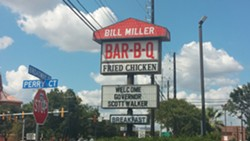 The sign outside Bill Miller BBQ on Broadway welcoming Walker. - VIA MICHAEL MARKS