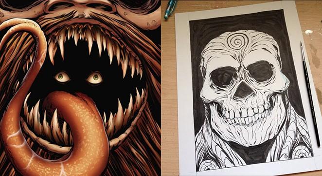 Cover art for Guardian Knight Comics Sanitarium #1 (2015) (left), ink sketch (right) - AUSTIN ROGERS