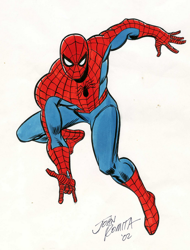 A sketch of Spider-Man from Marvel Comic artist John Romita, who is credited with giving the character his defining look. - JON ROMITA