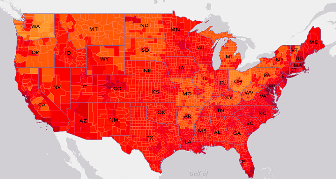 This new map by Esri shows where the gap is starkest between minimum wage and living wage. - VIA ESRI
