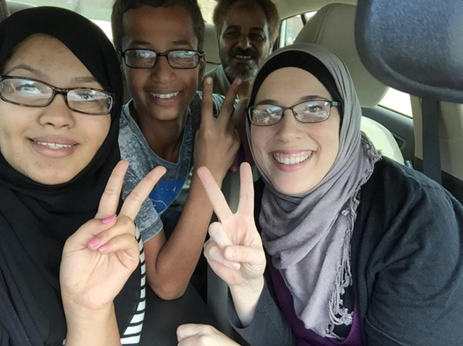 "Ahmed Mohamed (second from the left) was arrested for allegedly building a ""hoax clock."" - ALIA SALEM/TWITTER"