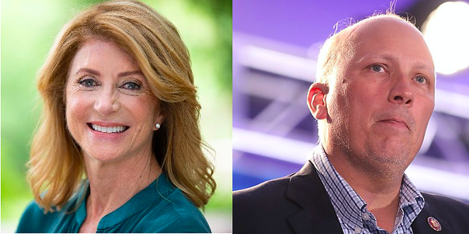 Former Texas Sen. Wendy Davis (left) and U.S. Rep. Chip Roy - TWITTER / @WENDDAVIS (LEFT); WIKIMEDIA COMMONS / GAGE SKIDMORE (RIGHT)