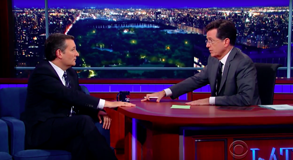 It wasn't exactly Frost-Nixon, but things still got a little testy between Ted Cruz and Stephen Colbert on The Late Show. - YOUTUBE SCREENSHOT