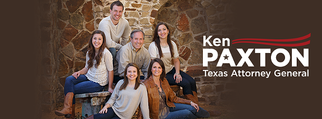 Ken Paxton and his family pose in a campaign photo. Paxton's wife Angela is on the bottom right. - VIA KEN PAXTON (FACEBOOK)