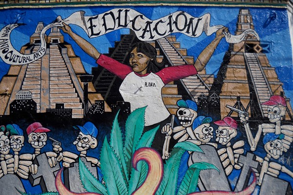 "San Anto's first mural ""Educacion"" (1994) - COURTESY"